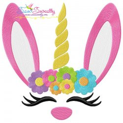 Unicorn Bunny Flowers Easter Applique Design