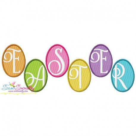 Easter Eggs Wording Embroidery Design