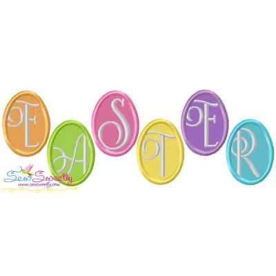 Easter Eggs Wording Applique Design