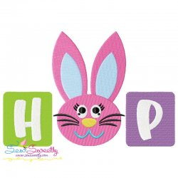 Hop Bunny Wording Embroidery Design