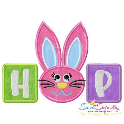 Hop Bunny Wording Applique Design