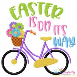Easter is on its Way Bicycle Lettering Embroidery Design