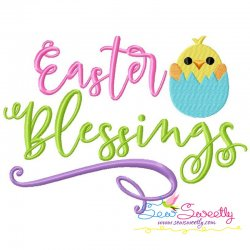 Easter Blessings Lettering Embroidery Design