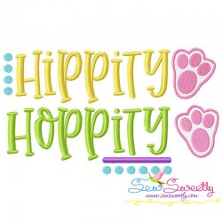 Hippity Hoppity Lettering Embroidery Design