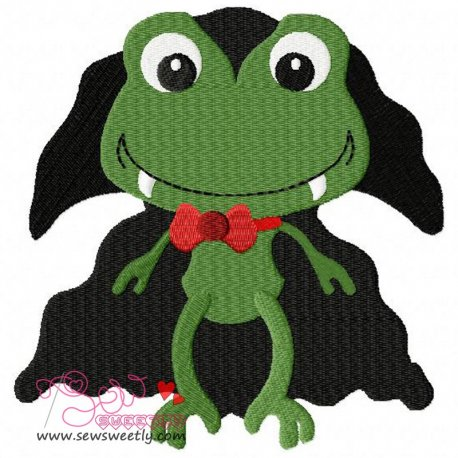 Frog Dracula Embroidery Design