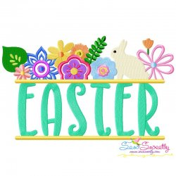 Floral Easter Wording Lettering Embroidery Design