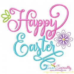 Happy Easter Flowers Lettering Embroidery Design