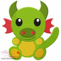 Cute Dragon Embroidery Design
