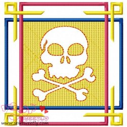 Embossed Skull-2 Embroidery Design Pattern- Category- Embossed Designs- 1