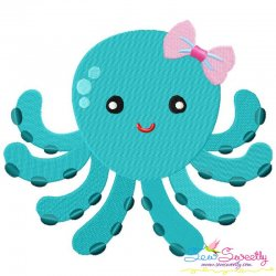 Girl Octopus Embroidery Design