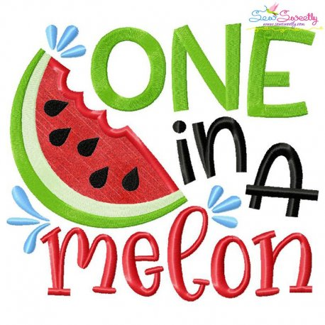 One In a Melon Lettering Applique Design