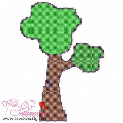 Retro Tree Cross Stitch Embroidery Design