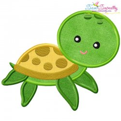 Cute Sea Turtle Applique Design