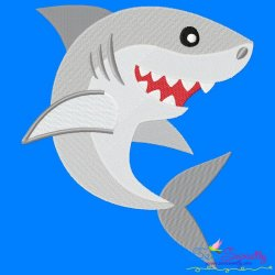 Cute Shark Machine Embroidery Design