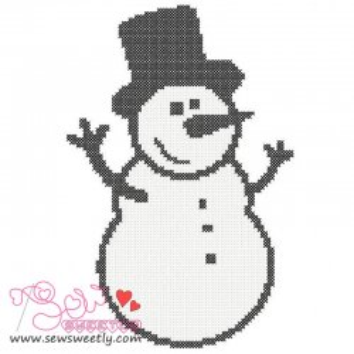 Happy Snowman Cross Stitch Embroidery Design