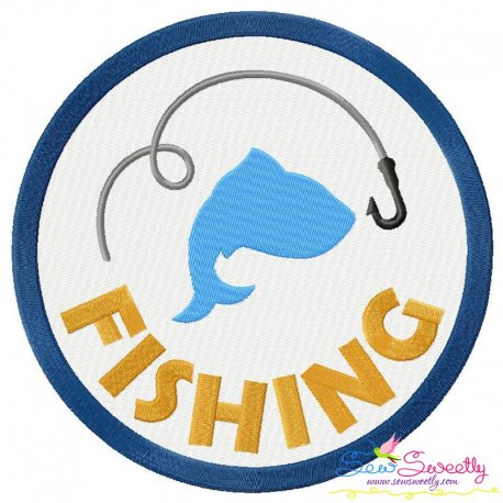 Fishing Badge Machine Embroidery Design