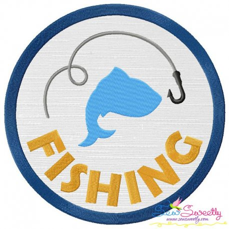 Fishing Badge Applique Design Pattern- Category- Caps And Jacket Back Designs- 1