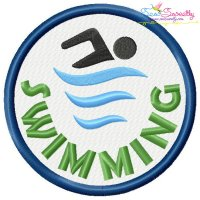 Swimming Badge Machine Embroidery Design