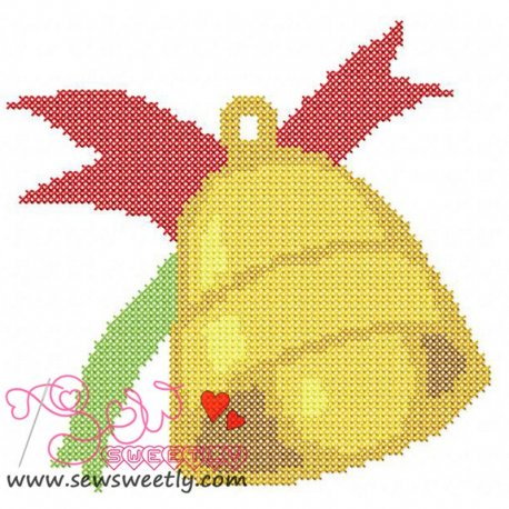 Christmas Bell Cross Stitch Embroidery Design