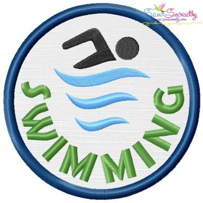 Swimming Badge Applique Design