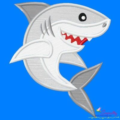 Cute Shark Applique Design