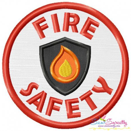 Fire Safety Badge Applique Design Pattern- Category- Caps And Jacket Back Designs- 1
