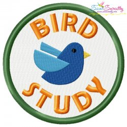 Bird Study Badge Machine Embroidery Design