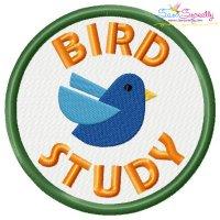 Bird Study Badge Machine Embroidery Design