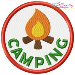 Camping Badge Machine Embroidery Design
