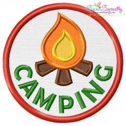 Camping Badge Applique Design