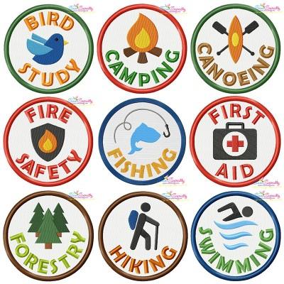 Camp Activity Badges Embroidery Design Bundle Pattern- Category- Embroidery Design Bundles- 1