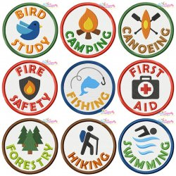 Camp Activity Badges Embroidery Design Bundle
