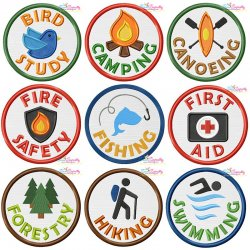Camp Activity Badges Applique Design Bundle