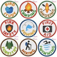 Camp Activity Badges Applique Design Bundle
