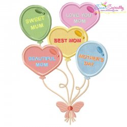 Mother's Day Balloons Applique Design