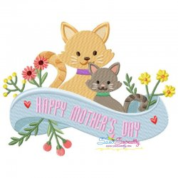 Mother's Day Cats Embroidery Design