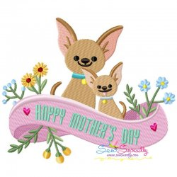 Mother's Day Dogs Embroidery Design
