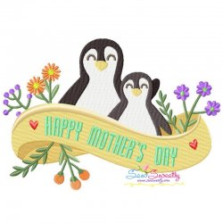 Mother's Day Penguins Embroidery Design Pattern- Category- Mother's Day/Father's Day- 1