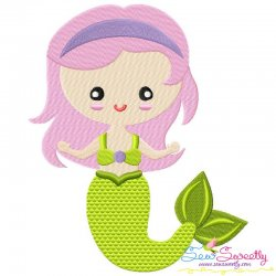 Green Mermaid Embroidery Design