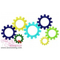 Colorful Gears Embroidery Design