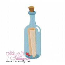 Pirates Message in a Bottle Embroidery Design