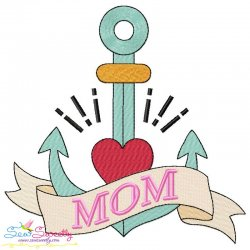 Mom Tattoo Anchor Embroidery Design