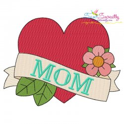 Mom Tattoo Heart Embroidery Design