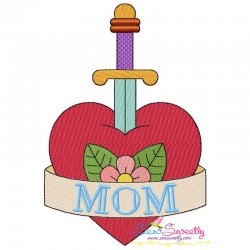 Mom Tattoo Heart Sword Embroidery Design