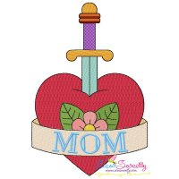 Mom Heart Sword Embroidery Design