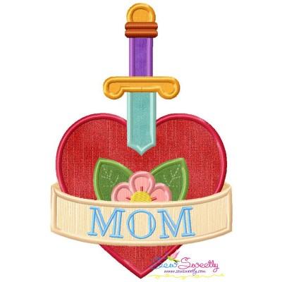 Mom Heart Sword Applique Design