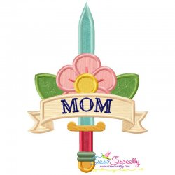 Mom Tattoo Sword Applique Design