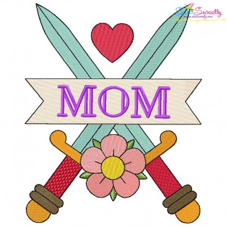 Mom Tattoo Swords-2 Embroidery Design
