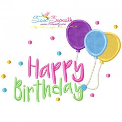Happy Birthday Balloons Applique Design