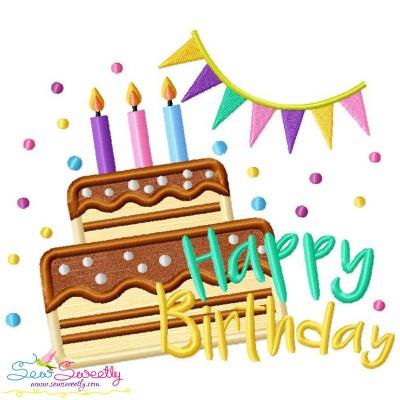 Happy Birthday Cake Applique Design